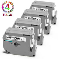 4PK Equivalent Brother P-Touch M231 MK231 M-K231 Label Tape Black on White 12mm