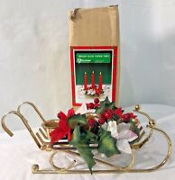 Vtg Christmas Around the World Brass Sled w/ Poinsietta Taper Trio Candle Holder