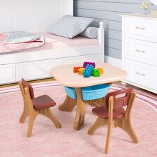 Children Kids Activity Table & Chair Set Play Furniture W/Storage Home/Outdoor