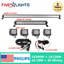 "300W & 120W  52"" inch /22"" LED Light Bar Philips Spot Flood CREE Pods + Free Kit"