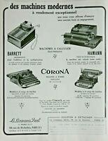 PUBLICITÉ DE PRESSE 1929 MACHINES A ÉCRIRE CORONA PORTATIVE MACHINE A CALCULER