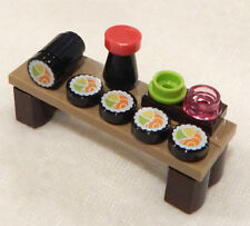 NEW LEGO SUSHI LOT 5 pieces +ginger wasabi soy sauce table Minifig japanese food