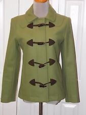 Women's XSmall Gap Green Wool Blend Toggle Button Coat Lined Pea Coat Style
