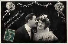 CD87.Vintage Postcard.Best Wishes for your Wedding.Bride and Groom