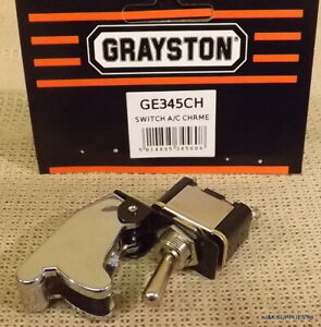 GRAYSTON 30AMP TOGGLE SWITCH WITH AIRCRAFT STYLE FLIP COVER - CHROME - GE345CH