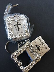 12PC Baptism Mini Bibles Party Favors Keychains Communion Recuerdos de Bautizo