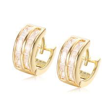 Double Row Crystal Hoop Huggie Earrings Yellow Gold Plated  Earrings Wholesale