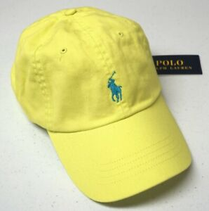 Polo Ralph Lauren Ball Cap Hat Mens One Size Adjustable Bright Yellow NEW $45
