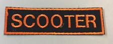 "Custom  Biker Vest Patch ""SCOOTER"" SEW/IRON ON (ORANGE ON BLACK) 4 1/2""X 1 1/4"""