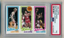 LARRY BIRD MAGIC JOHNSON JULIUS ERVING PSA 7 TRIPLE ROOKIE RC 1980 1980-81 TOPPS