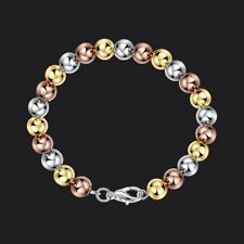 Fashion 925Sterling Solid Silver Jewelry 3 Color Ball Bracelet For Women H455