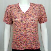 David Brooks Women's Sweater Size Medium Short Sleeves Peach Pink Green
