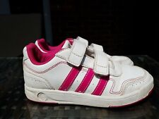 Adidas kids girls White Pink Trainers Size 12.5 Infant F32407 ref1P6 straps