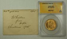 1908 No Motto Indian Gold Eagle Ten Dollar $10 Coin ANACS MS-62 JMX