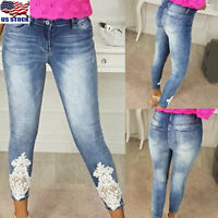 Women Denim Lace Skinny Stretch Pants High Waist Jeans Slim Pencil Pant Trousers