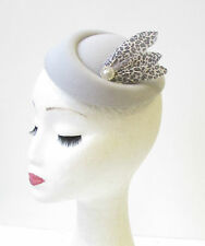 Grey Silver Leopard Print Feather Pillbox Hat Fascinator Rockabilly 1950s 1288