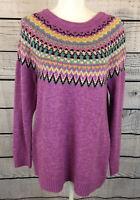 Cj Banks Pink Fair Isle Pullover Sweater Women's Size 14W X NWT