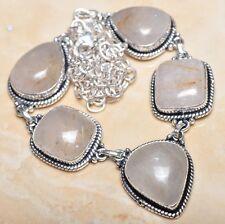 "Handmade Natural Rutilated Quartz Jasper 925 Sterling Silver Necklace 21"" N00770"