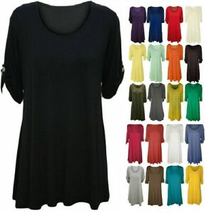 Womens Short Turn Up Sleeves Plus Size Button Flared Swing Ladies Dress Long Top