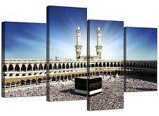 Islámica tela pared arte de la Kaaba el Hayy en la Meca para los musulmanes - 4 Panel-Azul