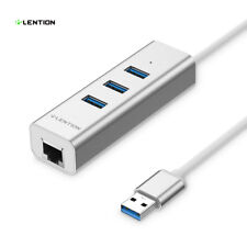 LENTION 4-Port USB 3.0 to Ethernet Converter Adapter for MacBook Pro Air Dell HP
