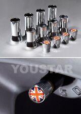US STOCK X12 CHROME Stem Covers UNION JACK Valve Caps Land Rover Range Rover