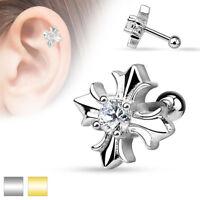Autiga® Ohr Piercing Stecker Tragus Helix Cartilage Barbell  keltisches Kreuz
