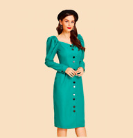 NWT Teal Vintage Inspired Button Up Puff Sleeve Career Midi Wiggle Dress Size M