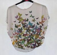 NEW Debenhams Bluezoo Butterfly Print Cape White Top Age 6-7 DE33
