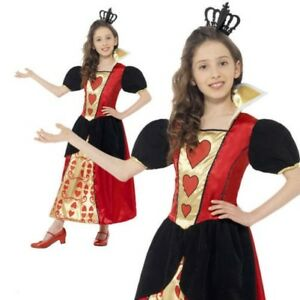 Girls Queen of Hearts Costume Child Alice Mad Hatter Fairy Tale Fancy Dress New