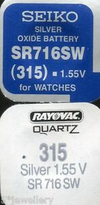 New SEIKO or RAYOVAC watch battery 315 SR716SW
