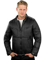 Mens Biker Jackets Full Zip Soft Slim Showerproof Windproof Motorcycle Jacket