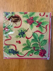 Caspari Christmas Trimmings Gold Paper Cocktail Napkins Holiday~ NEW 20/pack