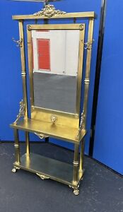 AMAZING HOLLYWOOD REGENCY NEOCLASSICAL BRASS FOYER/CONSOLE WITH MIRROR