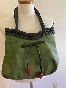 Espe Vegan Purse Green Black Red Rosebud Zip Top Colorful Lining 16X12 EUC