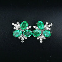 2.36TCW Natural Emerald VS Diamond Screw Stud Earrings Solid 14K Whtie Gold