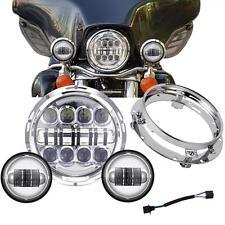 "Set 7"" Chrome LED Headlight + Passing Lights For Harley Electra Glide Road King"