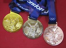 2012 LONDON OLYMPICS - SET OF GOLD, SILVER & BRONZE MEDALS WITH SILK RIBBONS