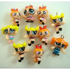 10 pcs Powerpuff Girls DIY Pvc Jewelry Making Assorted Figures Charms Pendant