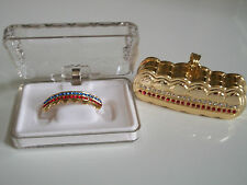 Gold finish Grill For Bottom Teeth Hip Hop Bling Mouth Grillz With Holder & Box
