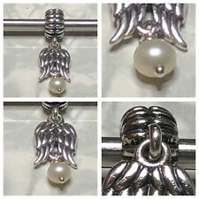 PANDORA ANGEL WINGS WITH A WHITE PEARL CHARM REF 790975P S925 ALE DISCONTINUED