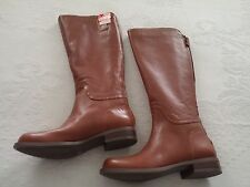 "NINE WEST NWCONTIGUA LADIES BROWN LEATHER BACK ZIP 16"" BOOTS-1"" HEEL-NWOB-NICE"
