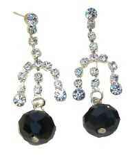 Ladies Black Bead Silver Crystal Diamante Drop Dangle Stud Earrings Women Dress