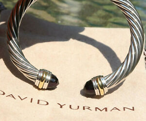 David Yurman Sterling Silver 7mm Cable Classic Bracelet Amethyst & 14k Gold