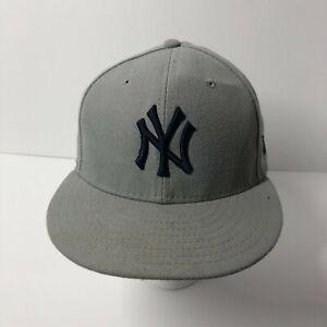 New York Yankees Flat Brim Fitted Hat Gray New Era 5950 Size 7 55.8cm