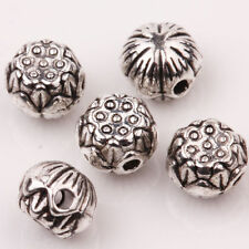 10X Tibetan Silver Carved Round Loose Spacer Beads Jewellery Making DIY Crafts
