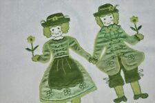 TRADITIONAL BAVARIAN FOLK PEOPLE IN GREEN! SPRING GERMAN TABLECLOTH CUTWORK
