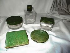 Antique green stingray skin vanity Birmingham silver 1939 compact cigarette case