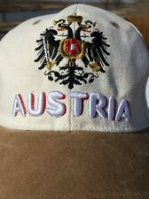 AUSTRIA coat-of-arms Vintage embroidered White cap hat w/suede bill Coat of Arms