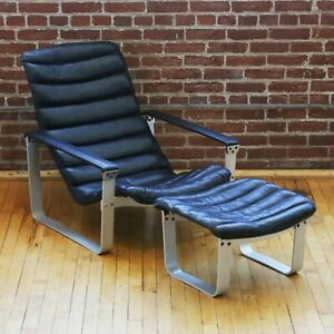 Asko Pullka Chaise Lounge Chair & Ottoman by Ilmari Lappalainen Vintage MCM